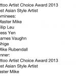 Tattoo Artist Award Best Asian Style Artist of the Year 2013